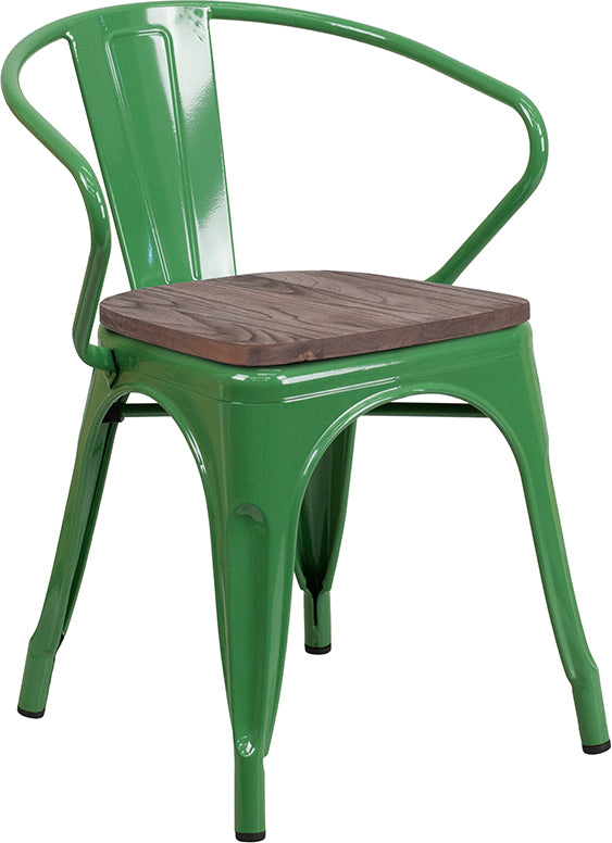 Flash Furniture   Green Metal Chair with Wood Seat and Arms - Pot Racks Plus