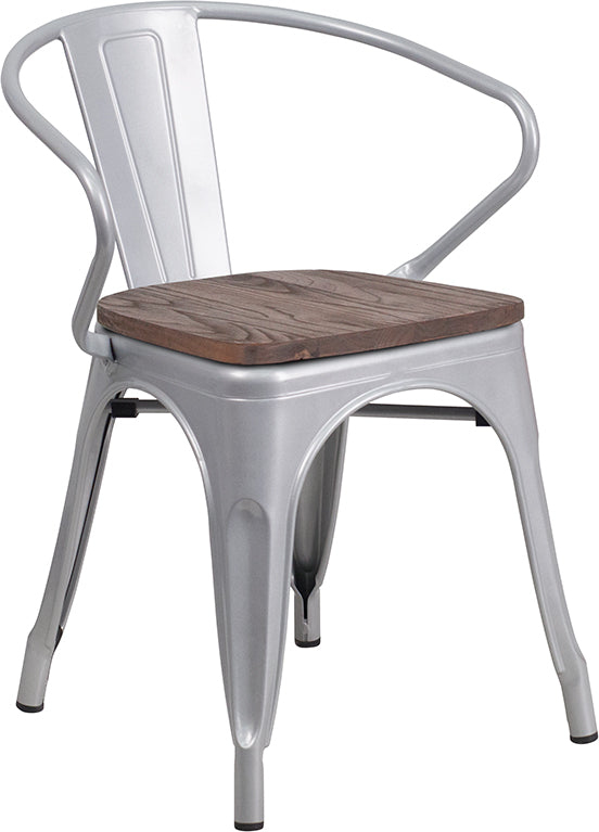 Flash Furniture   Silver Metal Chair with Wood Seat and Arms - Pot Racks Plus