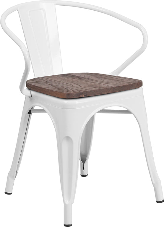 Flash Furniture   White Metal Chair with Wood Seat and Arms - Pot Racks Plus