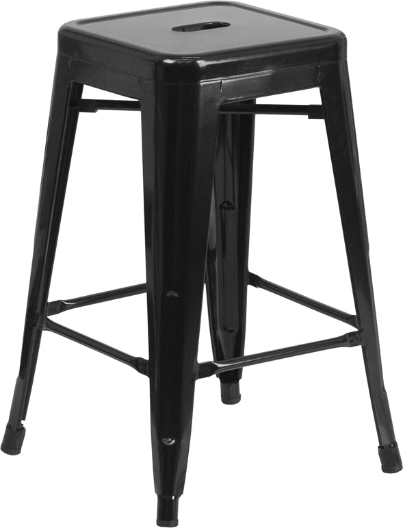 "Flash Furniture   Commercial Grade 24"" High Backless Black Metal Indoor-Outdoor Counter Height Stool with Square Seat - Pot Racks Plus"