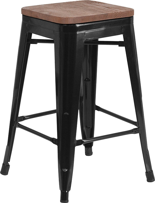 "Flash Furniture   24"" High Backless Black Metal Counter Height Stool with Square Wood Seat - Pot Racks Plus"