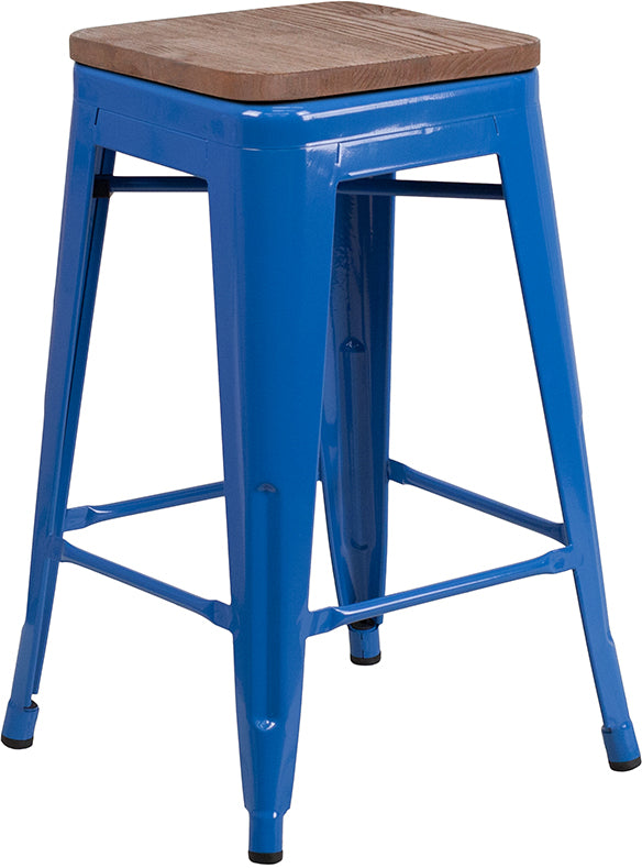 "Flash Furniture   24"" High Backless Blue Metal Counter Height Stool with Square Wood Seat - Pot Racks Plus"