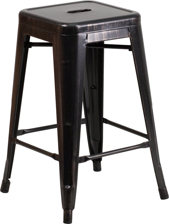 "Flash Furniture   Commercial Grade 24"" High Backless Black-Antique Gold Metal Indoor-Outdoor Counter Height Stool with Square Seat - Pot Racks Plus"