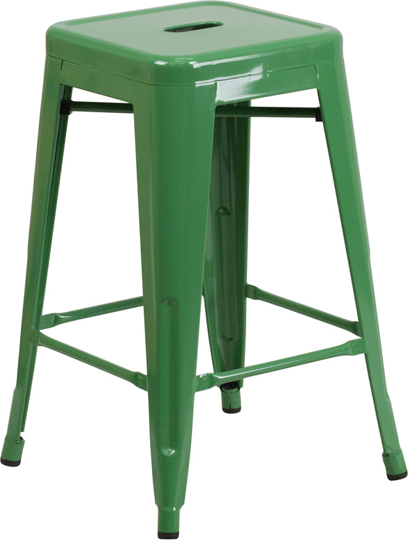 "Flash Furniture   Commercial Grade 24"" High Backless Green Metal Indoor-Outdoor Counter Height Stool with Square Seat - Pot Racks Plus"