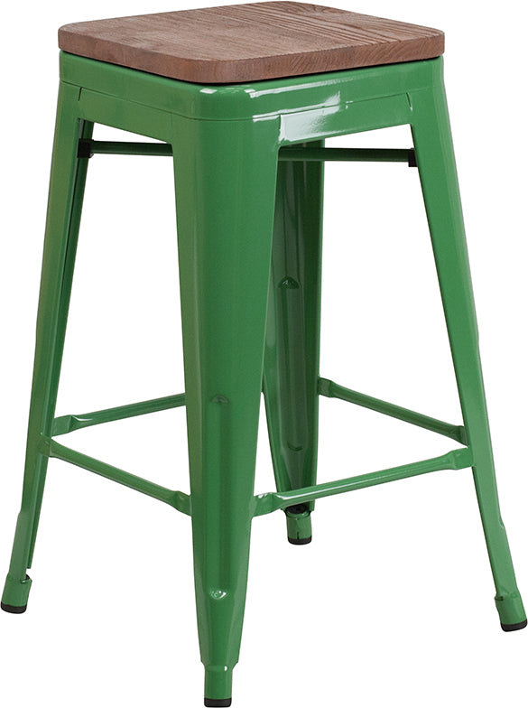 "Flash Furniture   24"" High Backless Green Metal Counter Height Stool with Square Wood Seat - Pot Racks Plus"