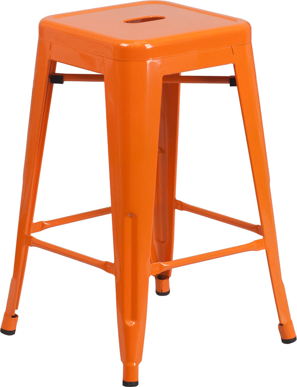 "Flash Furniture   Commercial Grade 24"" High Backless Orange Metal Indoor-Outdoor Counter Height Stool with Square Seat - Pot Racks Plus"