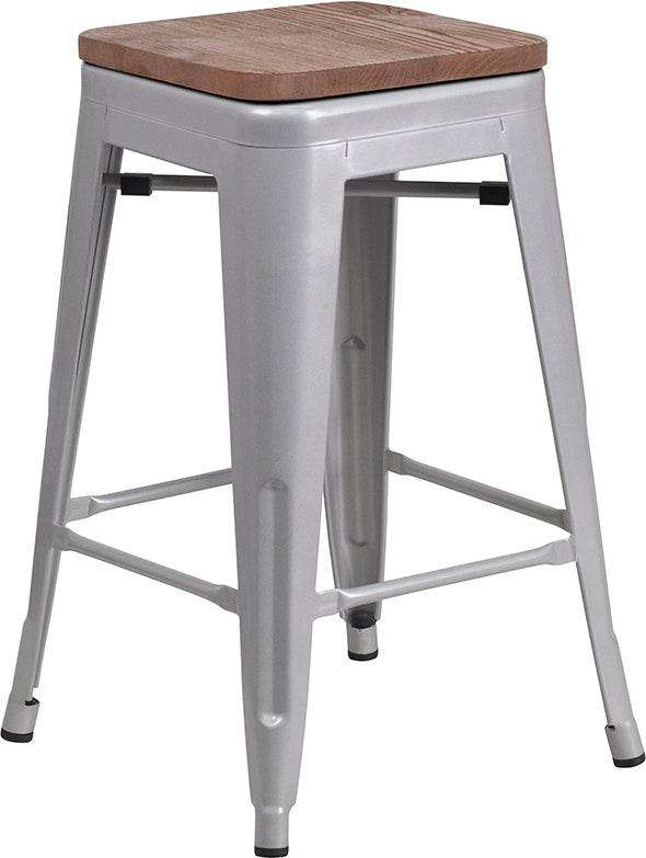 "Flash Furniture   24"" High Backless Silver Metal Counter Height Stool with Square Wood Seat - Pot Racks Plus"