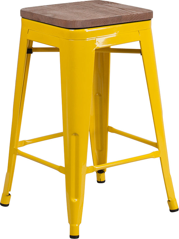 "Flash Furniture   24"" High Backless Yellow Metal Counter Height Stool with Square Wood Seat - Pot Racks Plus"