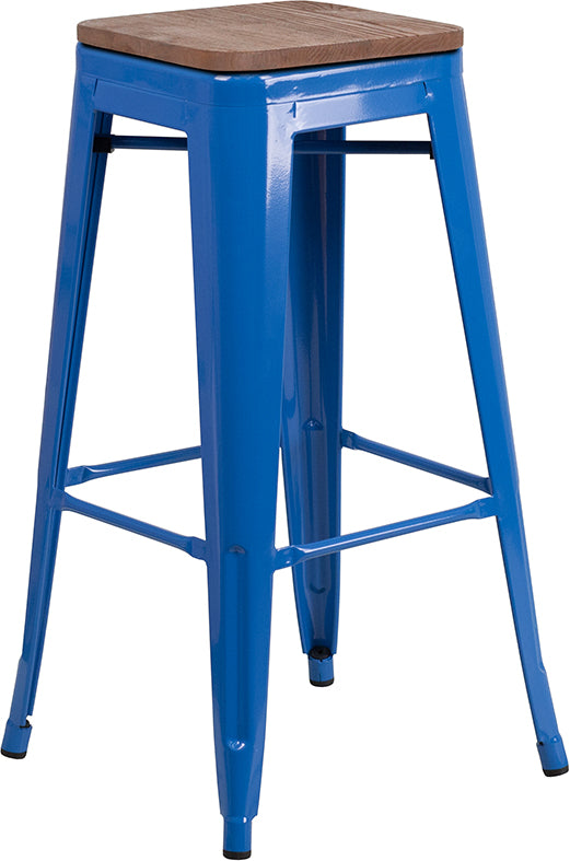 "Flash Furniture   30"" High Backless Blue Metal Barstool with Square Wood Seat - Pot Racks Plus"