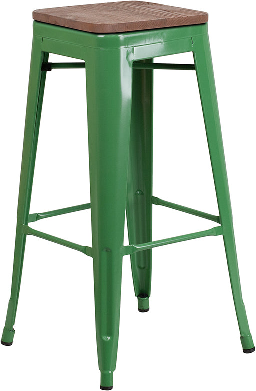 "Flash Furniture   30"" High Backless Green Metal Barstool with Square Wood Seat - Pot Racks Plus"