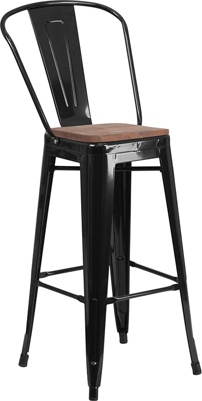 "Flash Furniture   30"" High Black Metal Barstool with Back and Wood Seat - Pot Racks Plus"