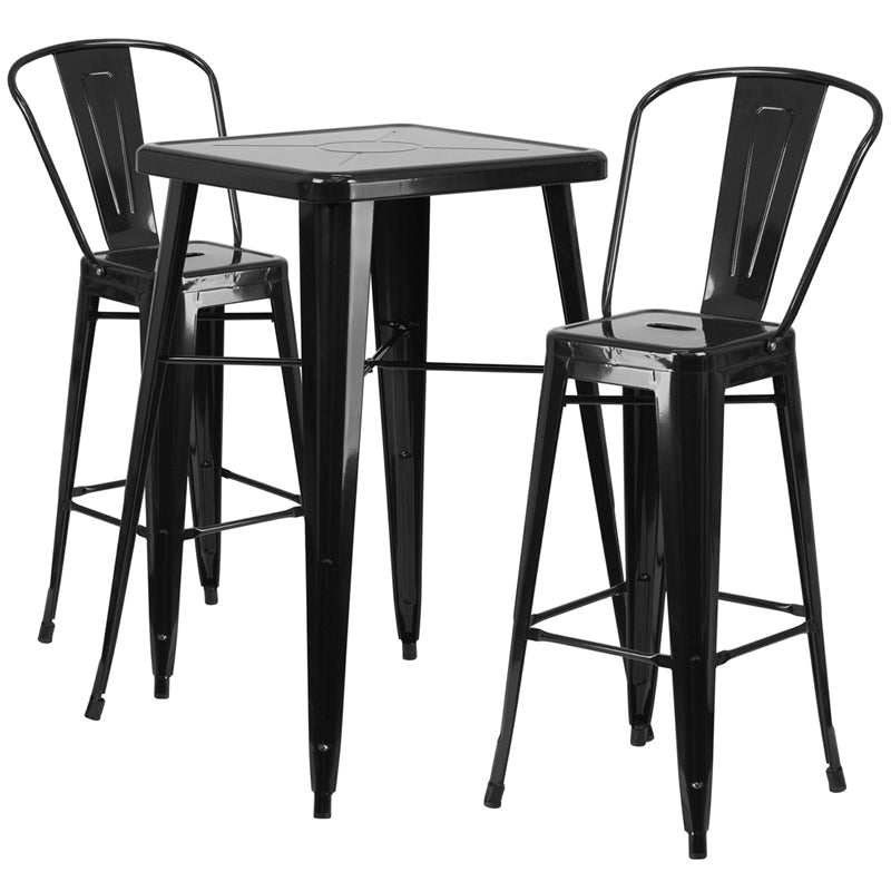 "Flash Furniture   Commercial Grade 23.75"" Square Black Metal Indoor-Outdoor Bar Table Set with 2 Stools with Backs - Pot Racks Plus"