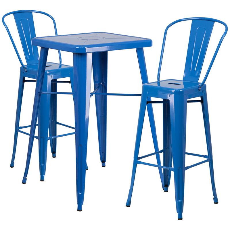 "Flash Furniture   Commercial Grade 23.75"" Square Blue Metal Indoor-Outdoor Bar Table Set with 2 Stools with Backs - Pot Racks Plus"