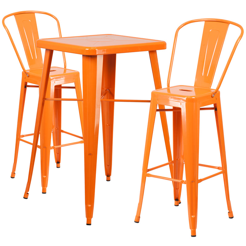 "Flash Furniture   Commercial Grade 23.75"" Square Orange Metal Indoor-Outdoor Bar Table Set with 2 Stools with Backs - Pot Racks Plus"