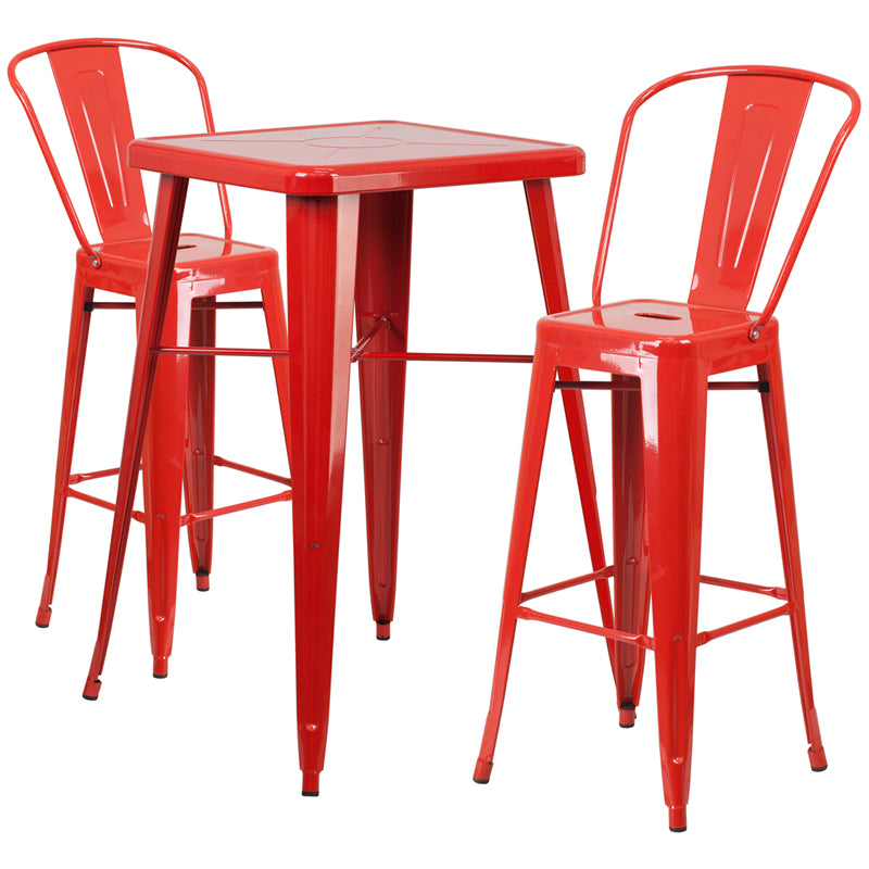"Flash Furniture   Commercial Grade 23.75"" Square Red Metal Indoor-Outdoor Bar Table Set with 2 Stools with Backs - Pot Racks Plus"