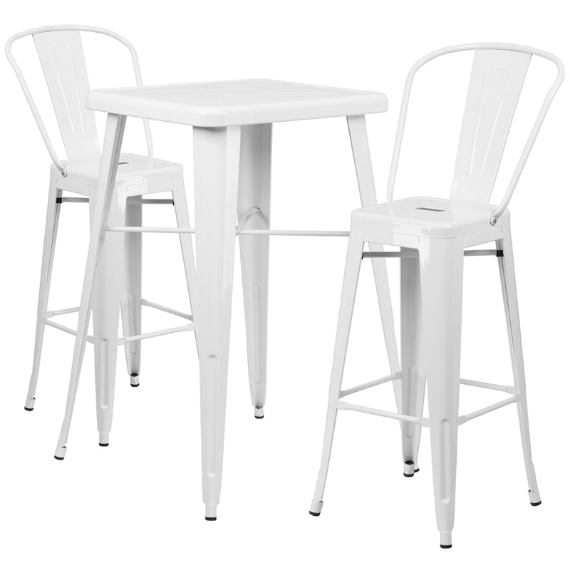 "Flash Furniture   Commercial Grade 23.75"" Square White Metal Indoor-Outdoor Bar Table Set with 2 Stools with Backs - Pot Racks Plus"