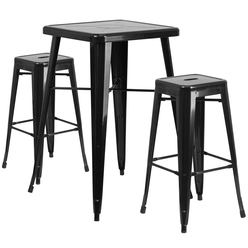 "Flash Furniture   Commercial Grade 23.75"" Square Black Metal Indoor-Outdoor Bar Table Set with 2 Square Seat Backless Stools - Pot Racks Plus"