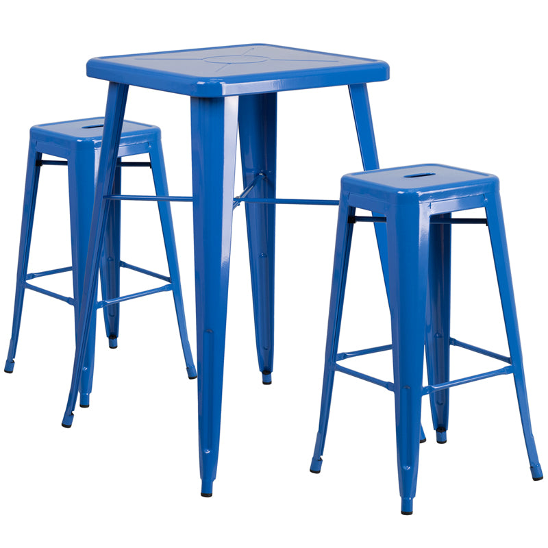 "Flash Furniture   Commercial Grade 23.75"" Square Blue Metal Indoor-Outdoor Bar Table Set with 2 Square Seat Backless Stools - Pot Racks Plus"