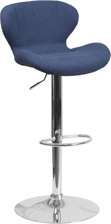Flash Furniture   Contemporary Blue Fabric Adjustable Height Barstool with Curved Back and Chrome Base - Pot Racks Plus