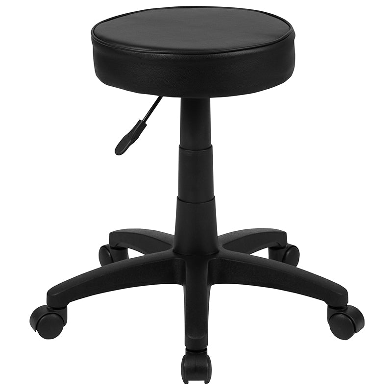 Flash Furniture Black Adjustable Doctors Stool on Wheels with Ergonomic Molded Seat - Pot Racks Plus