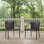 Palm Harbor Outdoor Wicker Stackable Chairs, Set of 2, Blue - Pot Racks Plus