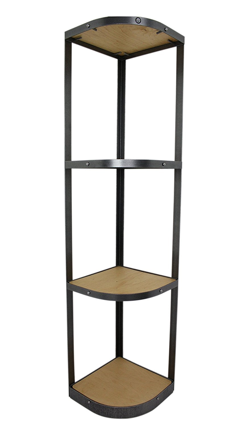 4-Tier Designer Corner Stand, Hammered Steel, Unassembled - Pot Racks Plus