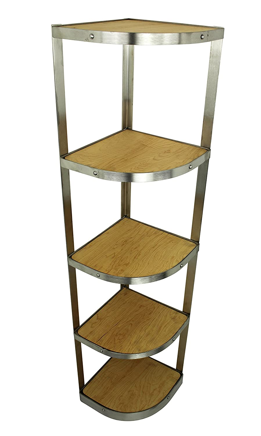 Handcrafted 5 Tier Corner Stand, Stainless Steel - Pot Racks Plus