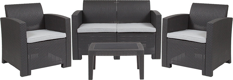 Flash Furniture 4 Piece Outdoor Faux Rattan Chair, Loveseat and Table Set in Dark Gray - Pot Racks Plus