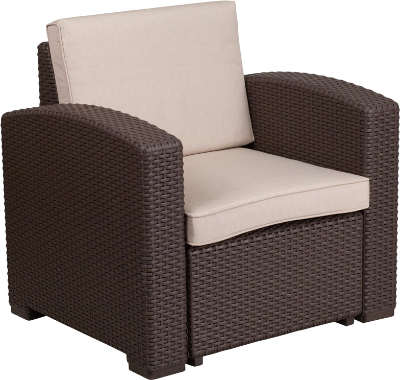 Flash Furniture Chocolate Brown Faux Rattan Chair with All-Weather Beige Cushion - Pot Racks Plus