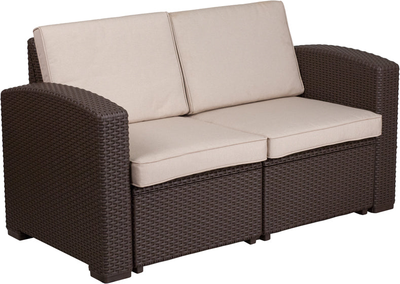 Flash Furniture Chocolate Brown Faux Rattan Loveseat with All-Weather Beige Cushions - Pot Racks Plus