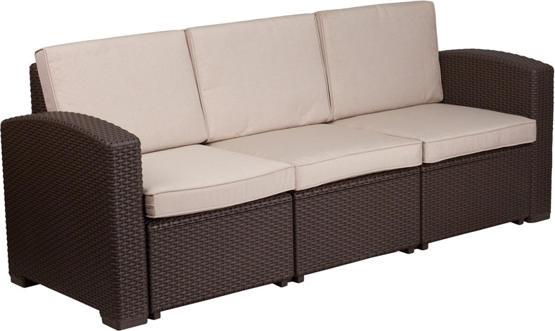 Flash Furniture Chocolate Brown Faux Rattan Sofa with All-Weather Beige Cushions - Pot Racks Plus