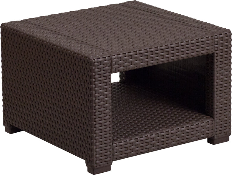 Flash Furniture Chocolate Brown Faux Rattan End Table - Pot Racks Plus