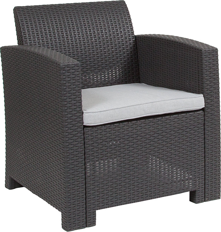 Flash Furniture Dark Gray Faux Rattan Chair with All-Weather Light Gray Cushion - Pot Racks Plus