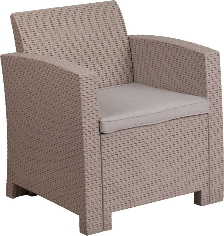 Flash Furniture Light Gray Faux Rattan Chair with All-Weather Light Gray Cushion - Pot Racks Plus