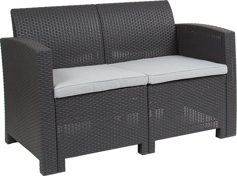 Flash Furniture Dark Gray Faux Rattan Loveseat with All-Weather Light Gray Cushions - Pot Racks Plus