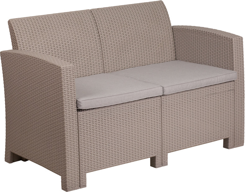Flash Furniture Light Gray Faux Rattan Loveseat with All-Weather Light Gray Cushions - Pot Racks Plus
