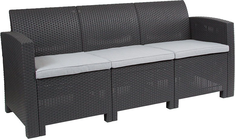 Flash Furniture Dark Gray Faux Rattan Sofa with All-Weather Light Gray Cushions - Pot Racks Plus