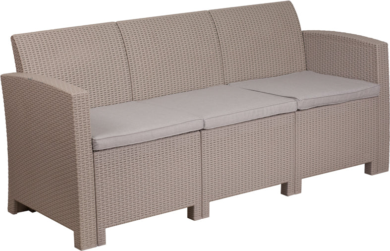 Flash Furniture Light Gray Faux Rattan Sofa with All-Weather Light Gray Cushions - Pot Racks Plus