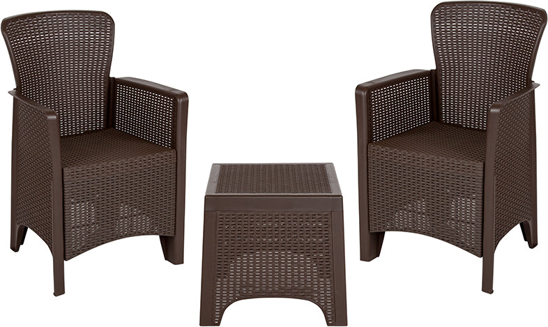 Flash Furniture Chocolate Faux Rattan Plastic Chair Set with Matching Side Table - Pot Racks Plus