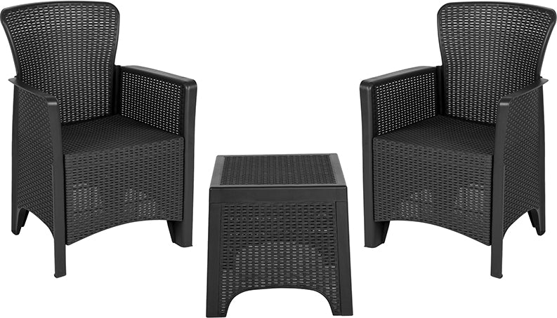 Flash Furniture Dark Gray Faux Rattan Plastic Chair Set with Matching Side Table - Pot Racks Plus