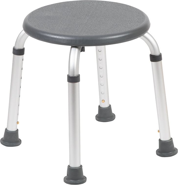 HERCULES Series Tool-Free and Quick Assembly, 300 Lb. Capacity, Adjustable Gray Bath & Shower Stool
