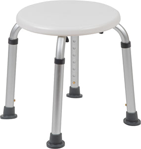 HERCULES Series Tool-Free and Quick Assembly, 300 Lb. Capacity, Adjustable White Bath & Shower Stool