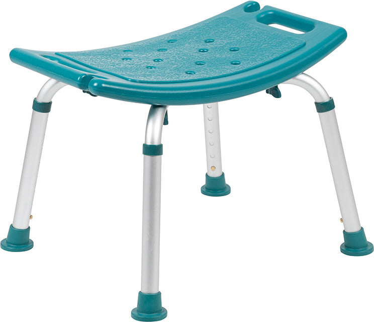 HERCULES Series Tool-Free and Quick Assembly, 300 Lb. Capacity, Adjustable Teal Bath & Shower Chair with Non-slip Feet