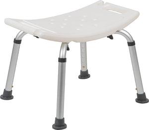 HERCULES Series Tool-Free and Quick Assembly, 300 Lb. Capacity, Adjustable White Bath & Shower Chair with Non-slip Feet
