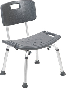 HERCULES Series Tool-Free and Quick Assembly, 300 Lb. Capacity, Adjustable Gray Bath & Shower Chair with Back