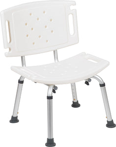 HERCULES Series Tool-Free and Quick Assembly, 300 Lb. Capacity, Adjustable White Bath & Shower Chair with Extra Large Back