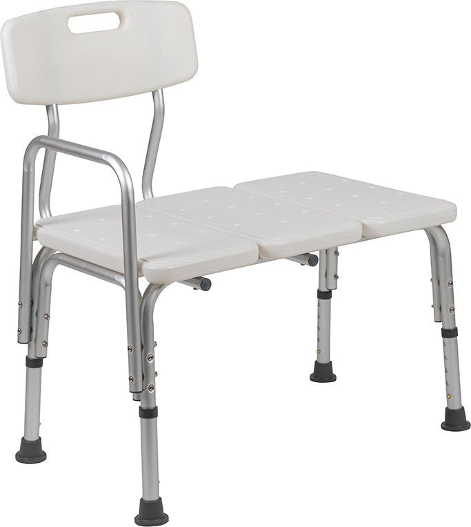HERCULES Series 300 Lb. Capacity Adjustable White Bath & Shower Transfer Bench with Back and Side Arm
