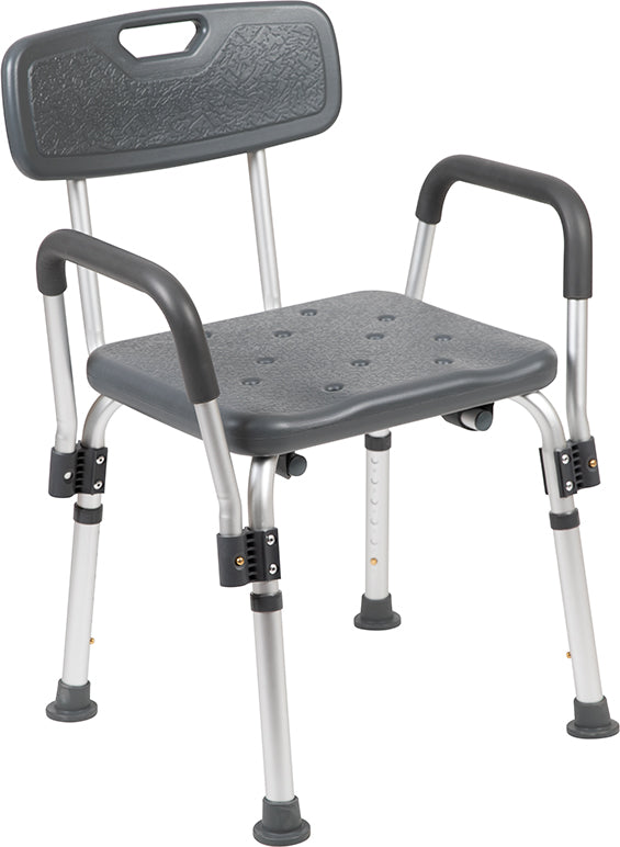 HERCULES Series 300 Lb. Capacity, Adjustable Gray Bath & Shower Chair with Depth Adjustable Back