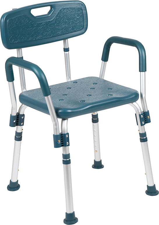 HERCULES Series 300 Lb. Capacity Adjustable Navy Bath & Shower Chair with Quick Release Back & Arms