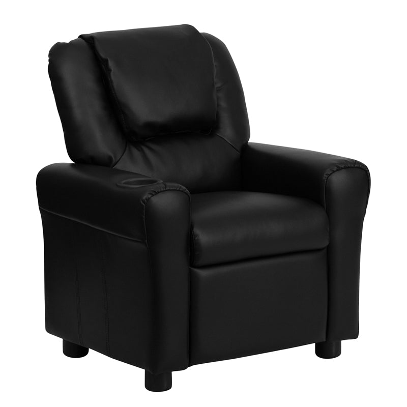 Flash Furniture   Contemporary Black LeatherSoft Kids Recliner with Cup Holder and Headrest - Pot Racks Plus